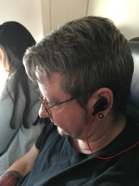 Podcast listening on flight