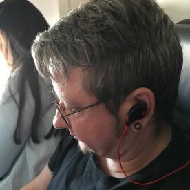 Podcast listening on flight