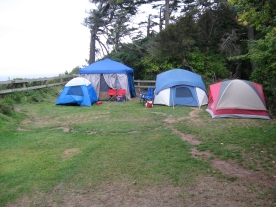 The first tents being set up