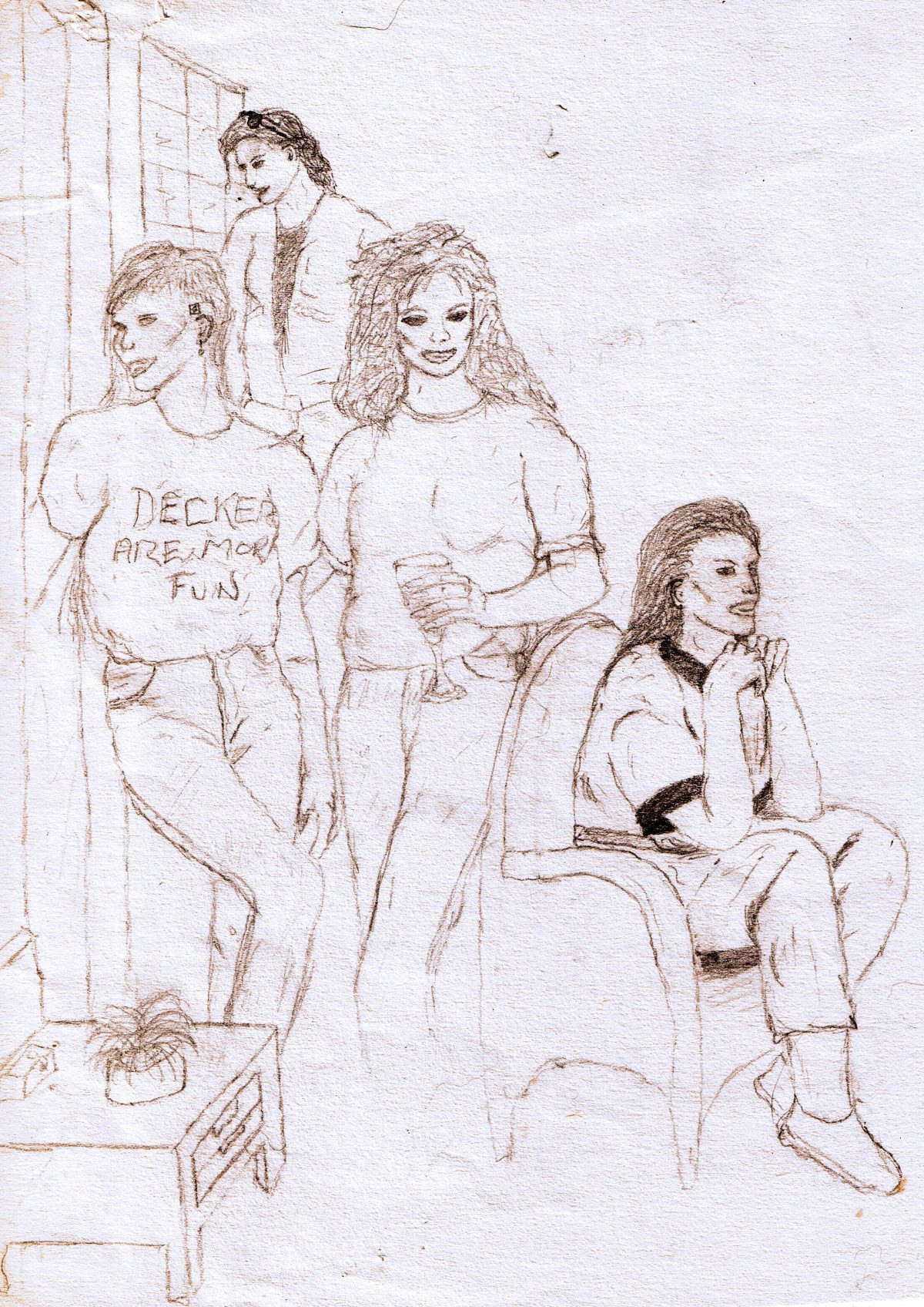 Taking it Easy, shadowrun group (artwork, sketch, 1991)